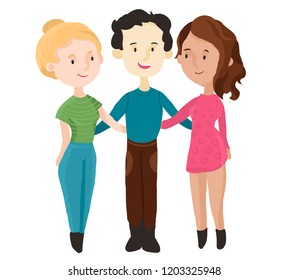 polyamorous relationship between two women and a man in raster