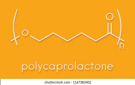 Polycaprolactone (PCL) biodegradable polyester, chemical structure. Frequently used for biomedical applications and for rapid prototyping. Skeletal formula.
