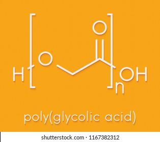 Polyglycolide (PGA) biodegradable polymer. Used in absorbable sutures. Skeletal formula.