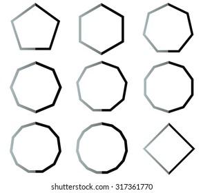 Polygon black and white shapes outline set illustration
