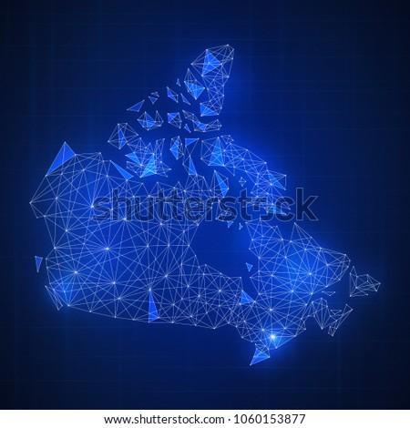 Royalty Free Stock Illustration of Polygon Canada Map Blockchain