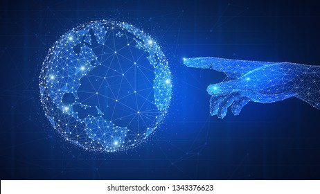 Polygon network human hand touching glowing world globe. Smart contract agreement, blockchain and cryptocurrency, business network and 4IR Fourth Industrial Revolution concept.