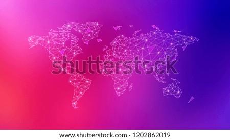 Polygon World Map Blockchain Peer Peer Stock Illustration