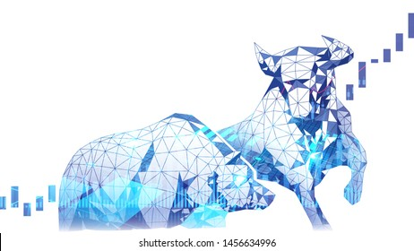 Polygonal art of Stock market Bullish vs Bearish trend with stock indicator double exposure suitable for Stock Marketing or Financial Investment
