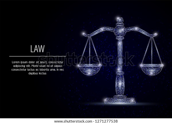 polygonal art style scales of justice. Low poly wireframe mesh with scattered particles and light effects on dark blue background. Law concept poster banner template with copy space.