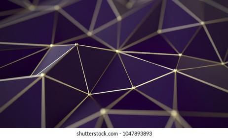 Polygonal background, gold grid, 3d illustration, futuristic concept