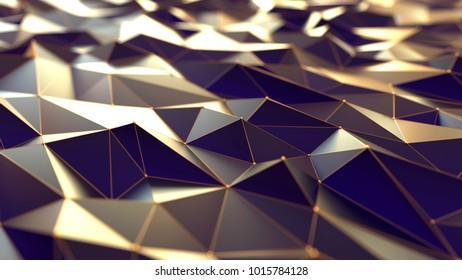 Polygonal background, gold and vilolet conception, 3d illustration