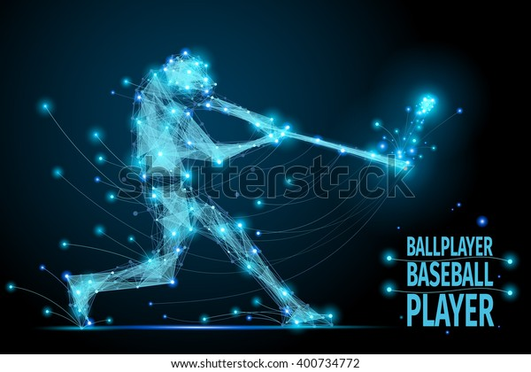 Polygonal ballplayer in motion from flying baseball debris. Baseball abstract concept illustration mesh spheres. Futuristic baseball technology style.