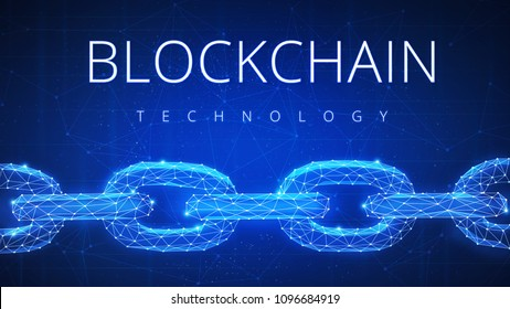 Polygonal blockchain futuristic hud banner. Crypto technology data link, cryptography, secure business network, cryptocurrency concept on peer to peer technology background with title Blockchain.