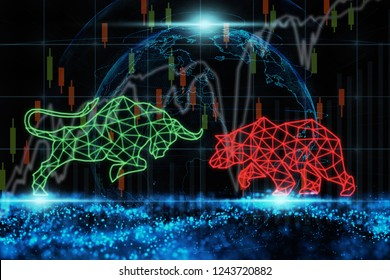 polygonal bull and bear shape writing by lines and dots over the Stock market chart with information over particle of earth and wave background, trading and finance investment concept