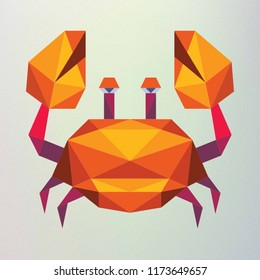 Polygonal crab On a gray background.
