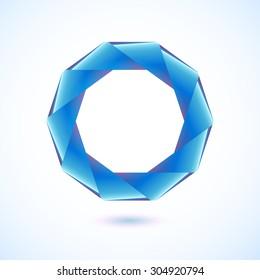 Polygonal geometric figure. Blue decagon on white background.