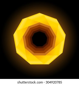 Polygonal geometric figure. Yellow nonagon on dark background.