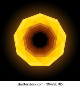 Polygonal geometric figure. Yellow nonagon on dark background.