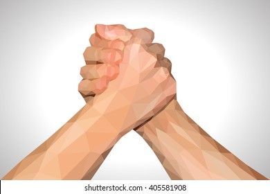 polygonal hand handshake friendly arm wrestling fist up on white