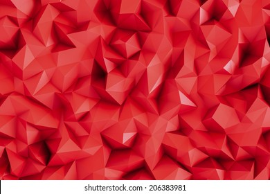 Polygonal hot red 3d triangle geometric abstract background wallpaper