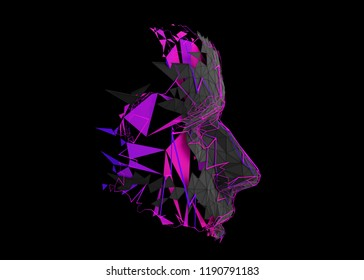 Polygonal human face profile. Abstract modern 3d illustration of a conceptual head construction.