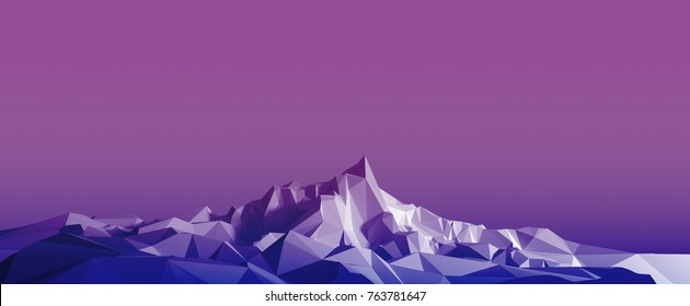 Polygonal image of a mountainous area at sunset. 3d illustration