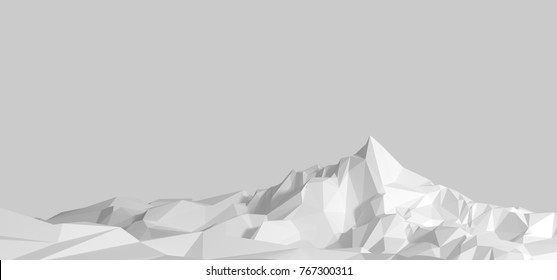 Polygonal image of mountainous terrain in gray tones. 3d illustration