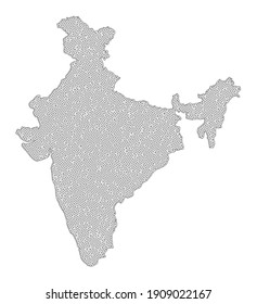 Polygonal mesh map of India in high resolution. Mesh lines, triangles and dots form map of India. High detail wire frame carcass polygonal line network in raster format on a white background.