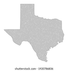 Polygonal mesh map of Texas State in high detail resolution. Mesh lines, triangles and dots form map of Texas State.