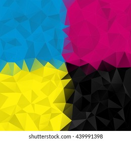 Polygonal mosaic background in CMYK colors, cyan, magenta, yellow, black