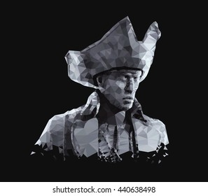 Polygonal  portrait of male pirate with hat. Geometric low poly triangular style. 3D illustration.