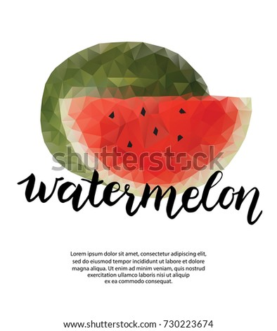 polygonal poster watermelon template food design stock illustration
