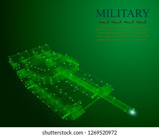Polygonal tank. Military background with polygonal tank wireframe. Isometry.