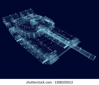 Polygonal wireframe of the tank with glowing lights on a dark blue background. 3D.