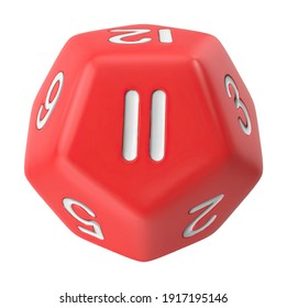Polyhedral 12 Sided Die 3D illustration on white background