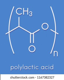 Polylactic acid (PLA, polylactide) bioplastic, chemical structure. Compostable polymer used in medical implants, 3D printing, packaging materials, etc. Skeletal formula.