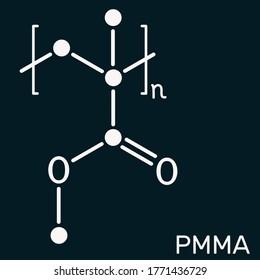 Poly(methyl methacrylate), acrylic glass, plexiglass, PMMA molecule. It is synthetic polymer of methyl methacrylate, is used for acrylic paint, latex, acrylic glass. Dark blue background. Illustration