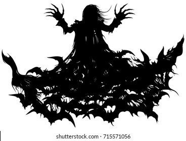 Polymorph vampire. Silhouette of a vampire turning into bats' cloud