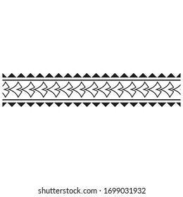 polynesian tattoo stencil ethnic seamless black and white fabric border pattern