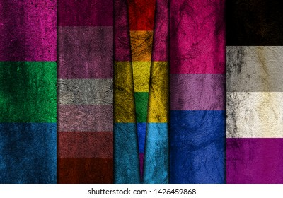 Polysexual, Lesbian, Pansexual, Bisexual, Asexual and LGBTQ pride flags all in one image with the LGBTQ flag on top of the Pansexual flag in the shape of a triangle