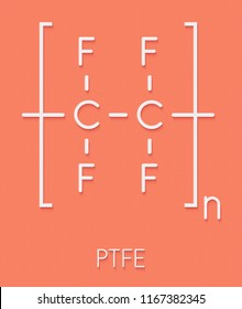 Polytetrafluoroethylene (PTFE) polymer, chemical structure. Used as lubricant and in non-stick cookware. Skeletal formula.