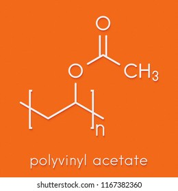 Polyvinyl acetate (PVA) polymer, chemical structure. Main component of wood glue or carpenter's glue. Skeletal formula.