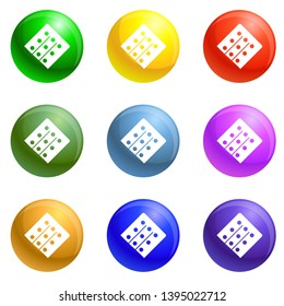 Polyvinyl chloride icons 9 color set isolated on white background for any web design