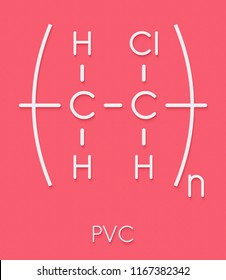 poly(vinyl chloride) plastic (PVC), chemical structure. Used in production of pipes, window frames, electric cable insulation, vinyl records, etc. Skeletal formula.