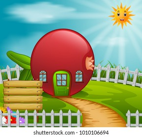pomegranate house in garden