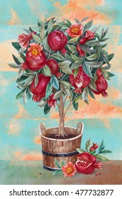 Pomegranate tree with flowers and fruits in a tub. Hand drawn illustrations. Eco natural food fruits.