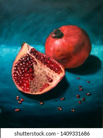 Pomegranates oil painting, still life, modern art