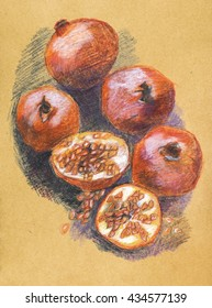 pomegranates on table,  pencils original drawing on recycle paper