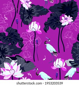 A pond with huge flowers and lotus dark violet leaves and cranes hunting fish. Seamless floral pattern with neon magenta pink color background. A square repeating design based on Chinese painting.