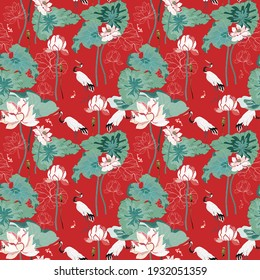 A pond with huge flowers and lotus leaves and red-headed cranes hunting fish. Seamless floral pattern with scarlet red color background. A square repeating design based on Chinese painting.