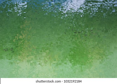 the pond ,tribute to Pollock, abstract expressionism, art, digital, abstract illustration with mosaic effects of gradient colors green, white,