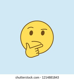 pondered 2 colored line icon. Simple yellow and brown element illustration. pondered concept outline symbol design from emoji set