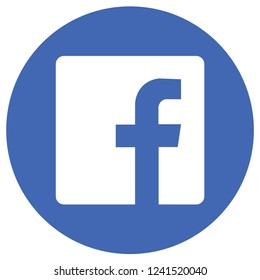Pontianak, Indonesia-November 17 2018: An illustration circle icon of Facebook.