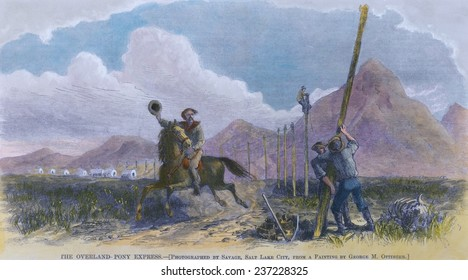 Pony Express rider passes a telegraph construction crew that put the overland mail service out of business in October 1861, wood engraving with modern watercolor.